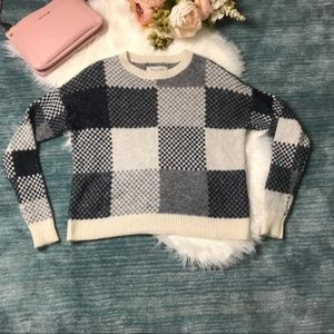 Abercrombie & Fitch Navy Patchwork Square Sweater